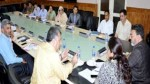 Minister for Education Altaf Bukhari chairing a meeting at Srinagar on Tuesday.