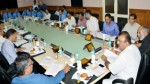 Minister for Industries & Commerce, Chander Parkash Ganga chairing a meeting at Srinagar on Wednesday.