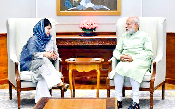 Chief Minister Mehbooba Mufti in a meeting with Prime Minister Narendra Modi at Parliament House, New Delhi on Friday.