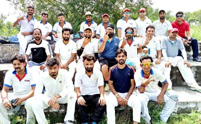 Media-XI CC players posing for a group photograph after registering win in the opening match of Triangular Series.