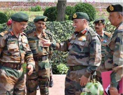 Northern Army Commander Lt Gen D Anbu during his visit to Kashmir alongwith Chinar Corps Commander Lt Gen JS Sandhu on Wednesday.