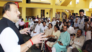National Conference Provincial President, Devender Singh Rana addressing a gathering at Kathua on Tuesday.