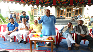 BJP general secretary (Org) Ashok Koul addressing party meeting  at Budgam on Wednesday.