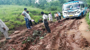 Worst condition of road to village Sunetar.