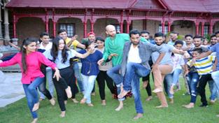 Participants of Natrang's International Theatre Workshop exploring new innovations of theatre at Amar Mahal Museum, Jammu.