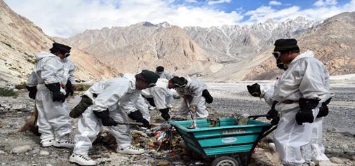 'Swachh Bharat Abhiyan' at Siachen Glacier, the highest battlefield in world, on Sunday.
