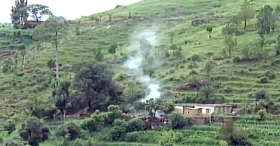 A mortar shell explodes in Balakote sector of Poonch on Wednesday.