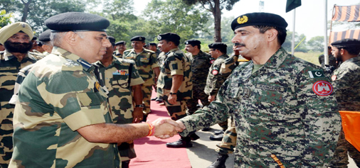 BSF and Rangers meet at Suchetgarh sector in R S Pura on Friday.