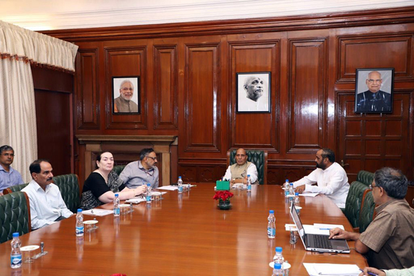 Union Home Minister Rajnath Singh reviewing J&K development works in New Delhi on Friday.