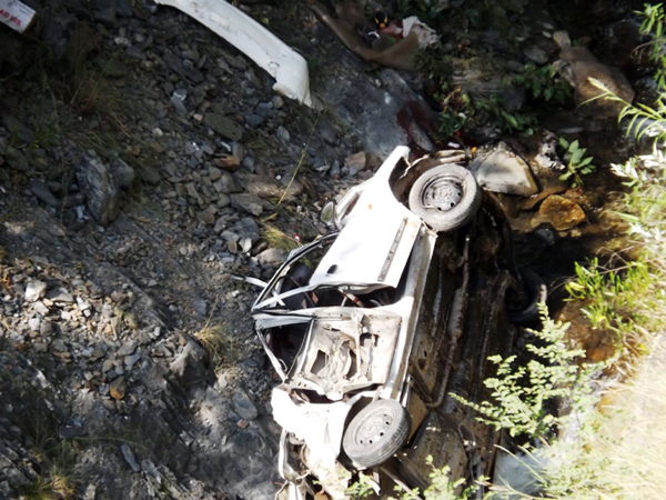 The ill-fated vehicle which fell into a deep gorge in Ramban area.