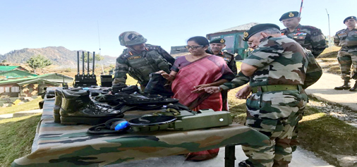 Defence Minister Nirmala Sitharaman at a forward LoC post in Kashmir on Friday.