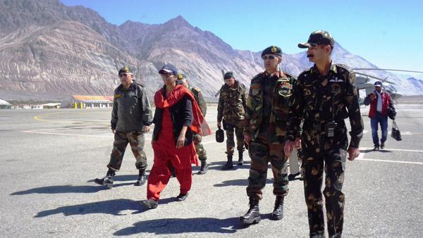 Defence Minister Nirmala Sitharaman at Siachen base camp on Saturday.