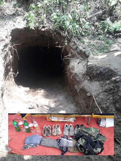 Tunnel detected by BSF in Arnia sector. (Below) items seized from inside the tunnel. —Excelsior/Rakesh