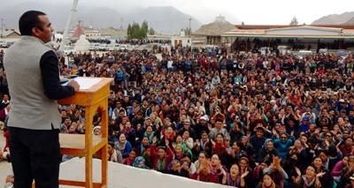 LBA leader addressing protest rally at Leh on Thursday. —Excelsior/Morup Stanzin