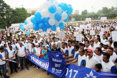 Walkathon being inaugurated in Jammu on Sunday.