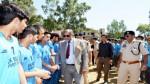 MLA Rajouri Ch Qamar Hussain interacting with players while inaugurating cricket tournament on Monday.