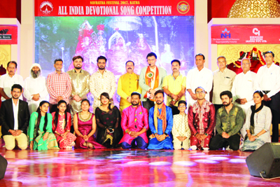Semi-final winners of All India Devotional Song Competition posing with guests.