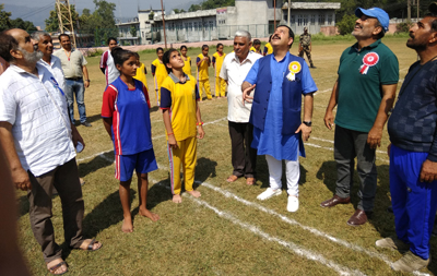 Minister of State for Finance, Ajay Nanda tossing coin along with other dignitaries to inaugurate Inter-District Kho-Kho Tournament at Reasi.