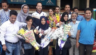 J&K Thang-Ta players being accorded warm reception at Srinagar Airport on Friday.