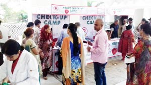Patients during a medical camp organized by P Mark Mustard Oil in Jammu.