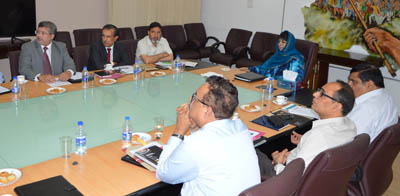 Chief Minister Mehbooba Mufti chairing a meeting at Srinagar on Friday.