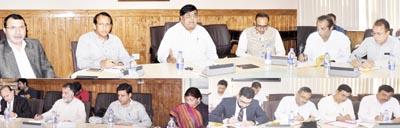 Chief Secretary, B B Vyas chairing a meeting at Srinagar on Tuesday.