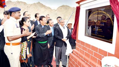 Chief Justice of J&K High Court Justice Badar Durrez Ahmed laying foundation stone of High Court Guest House at Leh on Monday. -Excelsior/Morup Stanzin