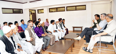 NC Working President Omar Abdullah addressing party office bearers at Beerwah on Tuesday.