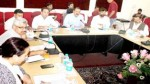 Union Minister, Dr Jitendra Singh chairing a meeting at Jammu on Sunday. -Excelsior/Rakesh