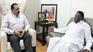 Chief Minister of Puducherry, V. Narayanasamy calling on Union Minister Dr Jitendra Singh at New Delhi.