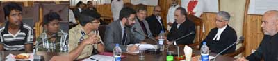 Chief Justice J&K High Court Justice Badar Durrez Ahmed during visit to Juvenile Home, Srinagar on Tuesday.