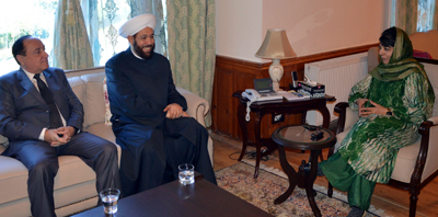 Grand Mufti of Syria Dr. Adib Hassoun interacting with Chief Minister Mehbooba Mufti on Friday.