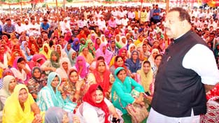 NC Provincial President, Devender Singh Rana addressing a gathering in Agore area on Sunday.