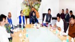 Chief Minister Mehbooba Mufti chairing a meeting at Srinagar on Monday.