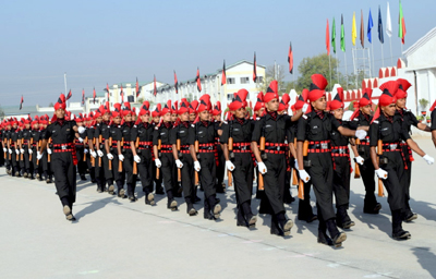 Passing out parade of newly recruited soldiers at Rangreth.