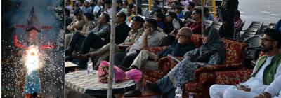 Chief Minister Mehbooba Mufti attending Dussehra celebrations at Srinagar on Saturday.