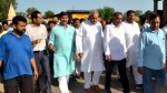 Minister for PHE, Sham Lal Choudhary during his visit to border villages on Monday.