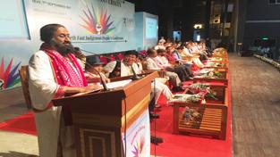 AoL founder, Sri Sri Ravi Shankar addressing a conference at Guwahati in Assam.