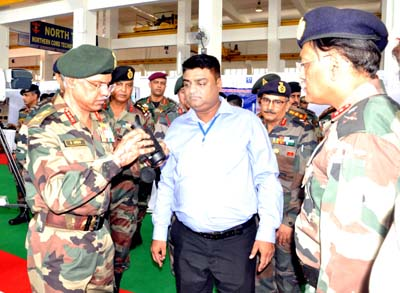 GOC-in-C Northern Command, Lt Gen D Anbu inspecting equipment at Tech Symposium in Udhampur on Tuesday.