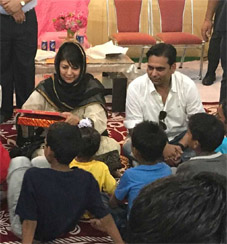 CM Mehbooba celebrates Diwali with orphans in RS Pura  on Thursday
