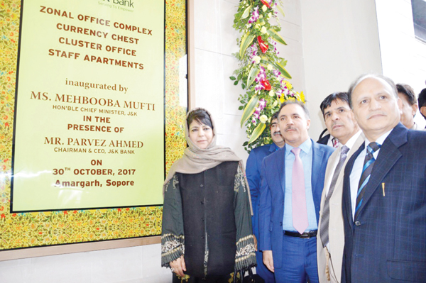 Chief Minister Mehbooba Mufti inaugurating J&K Bank Zonal Office at Amargarh in Sopore on Monday.