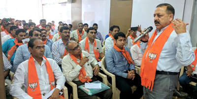 Union Minister Dr Jitendra Singh addressing BJP Karyakartas at Valsad, Gujarat on Friday.