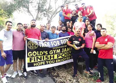 Members of Gold's Gym Jammu posing for group photograph during 'trek for fitness' trip.