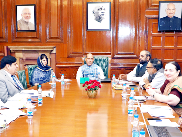 Union Home Minister Rajnath Singh chairing a meeting on the development projects in Jammu and Kashmir, in New Delhi on Thursday along with Chief Minister Mehbooba Mufti.
