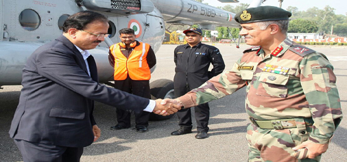 Minister of State for Defence Dr Subhash Bhamre being received by GoC 16 Corps Lt Gen A K Sharma on Wednesday.