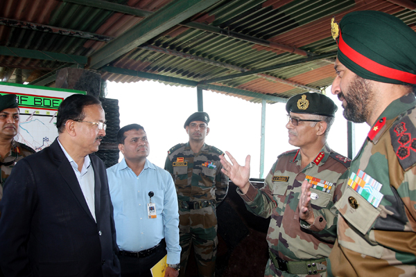 MoS Defence Dr Subhash Bhamre being briefed by the Army Commanders on Thursday.