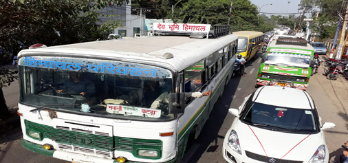 A view of traffic jam near Rehari Chungi in Jammu. -Excelsior/Rakesh