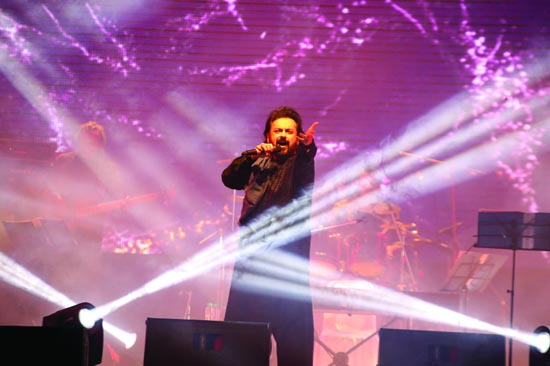 Famous singer Adnan Sami performs in a musical concert on the bank of Dal lake in Srinagar. -Excelsior/Shakeel