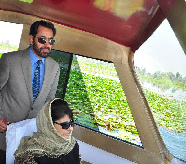 Chief Minister Mehbooba Mufti during tour of Dal lake in Srinagar on Thursday.