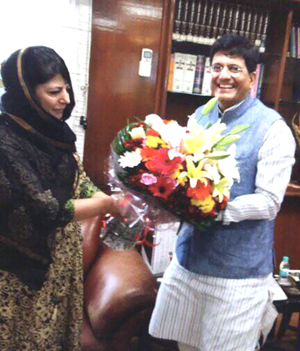 Chief Minister Mehbooba Mufti in a meeting with Railways Minister Piyush Goyal in New Delhi on Tuesday.
